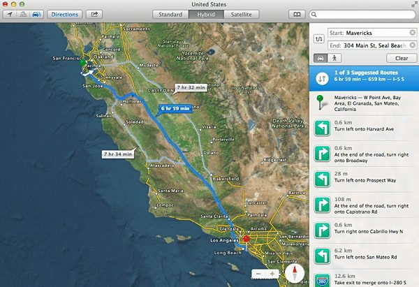 Sharing directions in the maps app for mavericks with your iphone apple map gumiabroncs Gallery